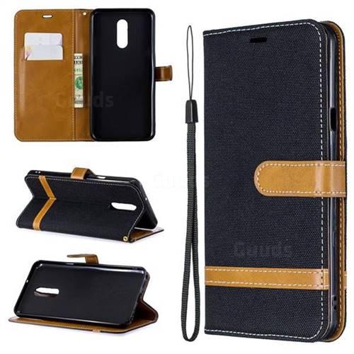 Jeans Cowboy Denim Leather Wallet Case for LG Stylo 5 - Black