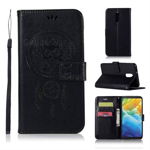 Intricate Embossing Owl Campanula Leather Wallet Case for LG Stylo 5 - Black