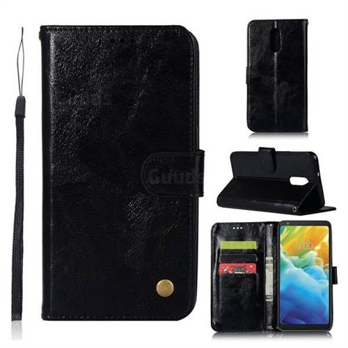 Luxury Retro Leather Wallet Case for LG Stylo 5 - Black