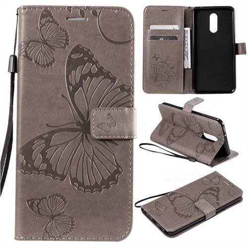 Embossing 3D Butterfly Leather Wallet Case for LG Stylo 5 - Gray