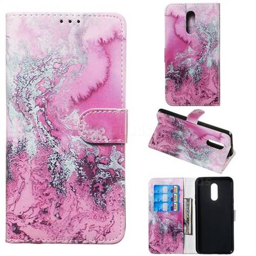 Pink Seawater PU Leather Wallet Case for LG Stylo 5