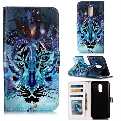 Ice Wolf 3D Relief Oil PU Leather Wallet Case for LG Stylo 5