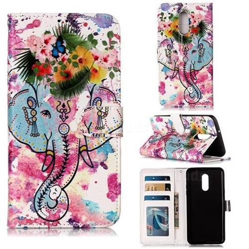 Flower Elephant 3D Relief Oil PU Leather Wallet Case for LG Stylo 5
