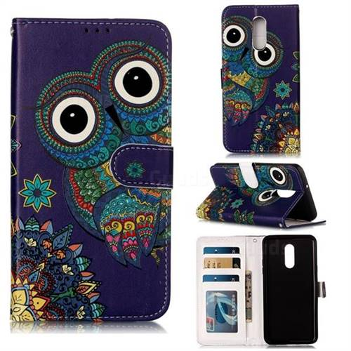Folk Owl 3D Relief Oil PU Leather Wallet Case for LG Stylo 5