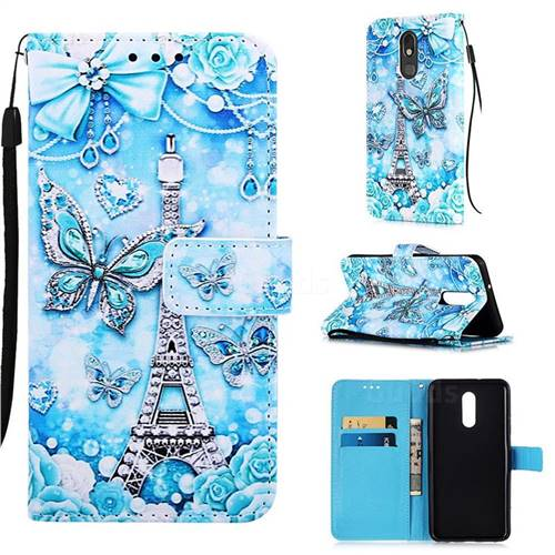 Tower Butterfly Matte Leather Wallet Phone Case for LG Stylo 5