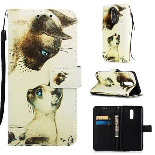 Cat Confrontation Matte Leather Wallet Phone Case for LG Stylo 5