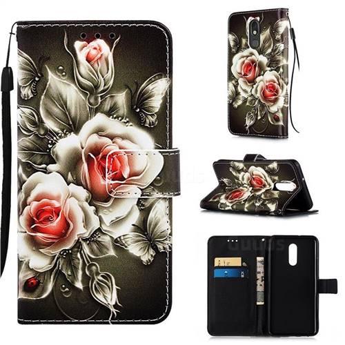 Black Rose Matte Leather Wallet Phone Case for LG Stylo 5