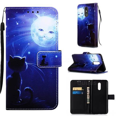 Cat and Moon Matte Leather Wallet Phone Case for LG Stylo 5