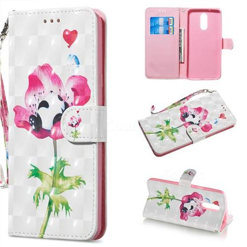 Flower Panda 3D Painted Leather Wallet Phone Case for LG Stylo 5