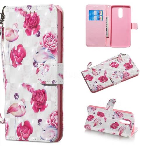 Flamingo 3D Painted Leather Wallet Phone Case for LG Stylo 5
