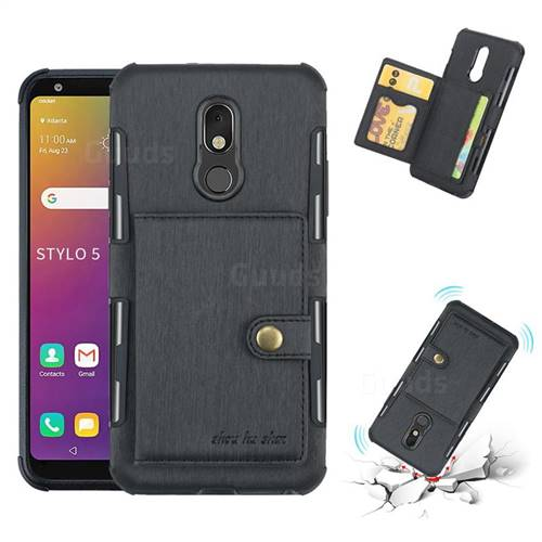 Brush Multi-function Leather Phone Case for LG Stylo 5 - Black