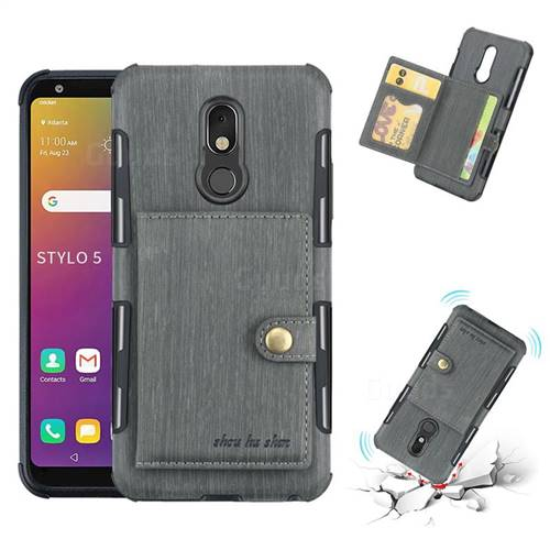 Brush Multi-function Leather Phone Case for LG Stylo 5 - Gray