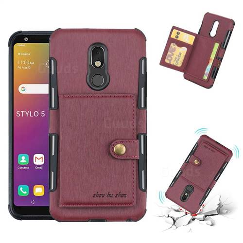 Brush Multi-function Leather Phone Case for LG Stylo 5 - Wine Red