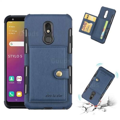 Brush Multi-function Leather Phone Case for LG Stylo 5 - Blue