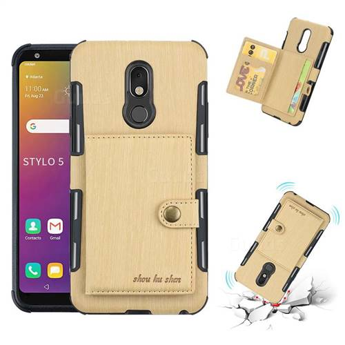 Brush Multi-function Leather Phone Case for LG Stylo 5 - Golden