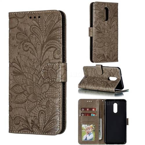Intricate Embossing Lace Jasmine Flower Leather Wallet Case for LG Stylo 5 - Gray