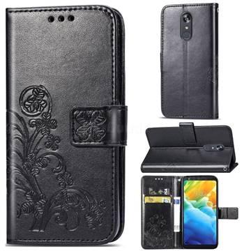 Embossing Imprint Four-Leaf Clover Leather Wallet Case for LG Stylo 5 - Black