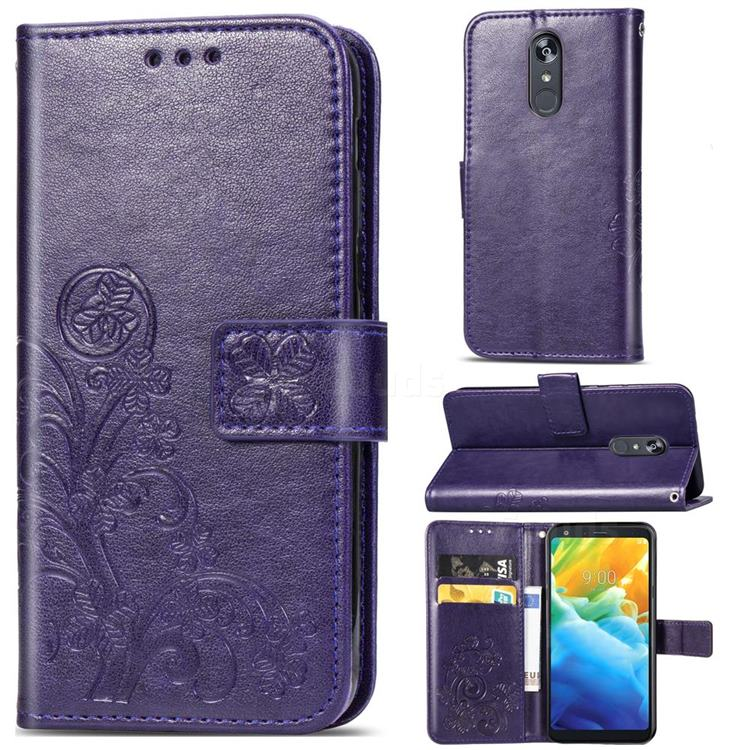 Embossing Imprint Four-Leaf Clover Leather Wallet Case for LG Stylo 5 - Purple