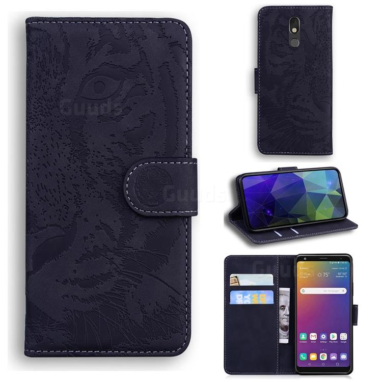 Intricate Embossing Tiger Face Leather Wallet Case for LG Stylo 5 - Black