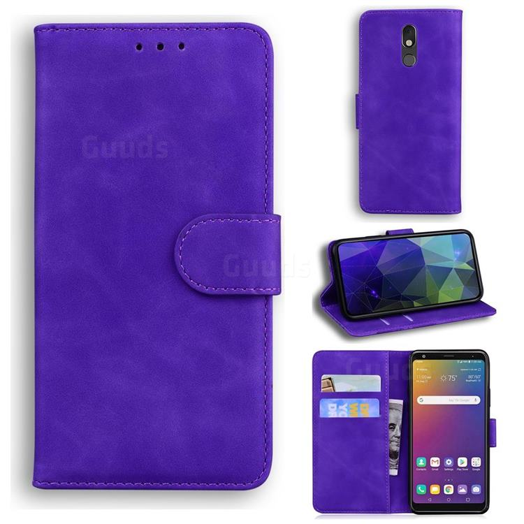 Retro Classic Skin Feel Leather Wallet Phone Case for LG Stylo 5 - Purple