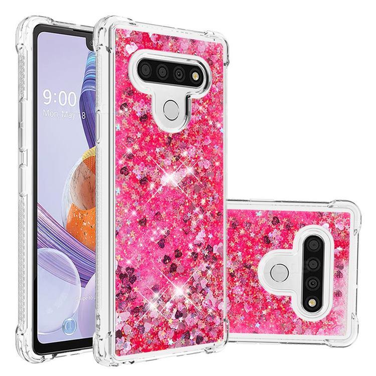 Dynamic Liquid Glitter Sand Quicksand TPU Case for LG Stylo 6 - Pink Love Heart