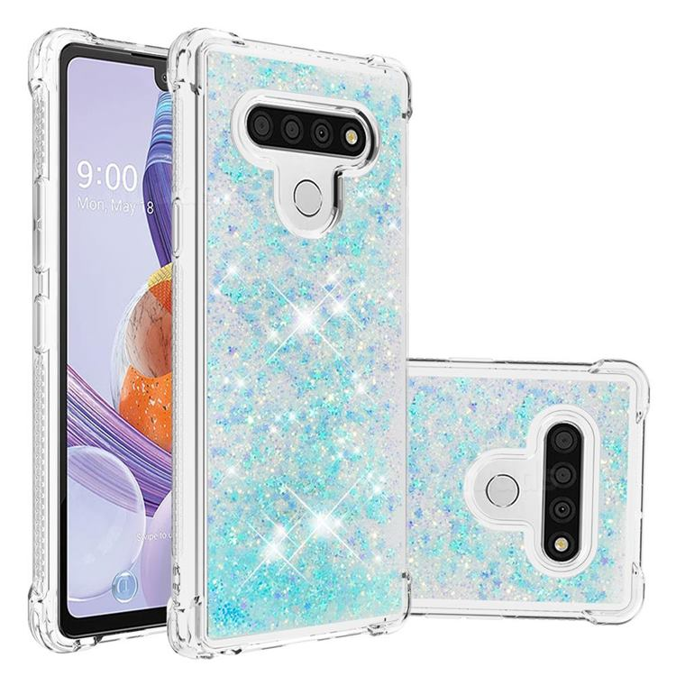 Dynamic Liquid Glitter Sand Quicksand TPU Case for LG Stylo 6 - Silver Blue Star