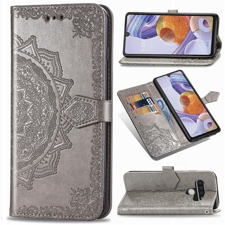 Embossing Imprint Mandala Flower Leather Wallet Case for LG Stylo 6 - Gray