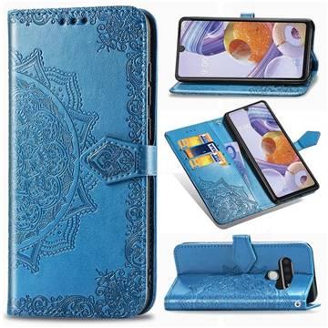 Embossing Imprint Mandala Flower Leather Wallet Case for LG Stylo 6 - Blue