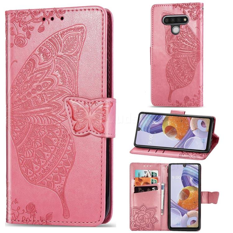 Embossing Mandala Flower Butterfly Leather Wallet Case for LG Stylo 6 - Pink