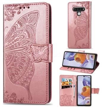 Embossing Mandala Flower Butterfly Leather Wallet Case for LG Stylo 6 - Rose Gold