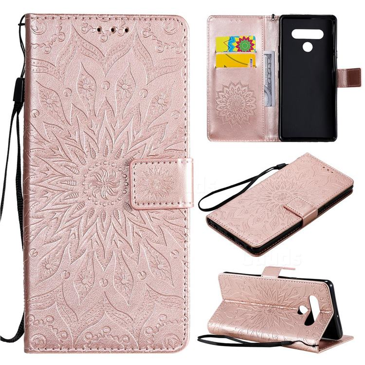 Embossing Sunflower Leather Wallet Case for LG Stylo 6 - Rose Gold