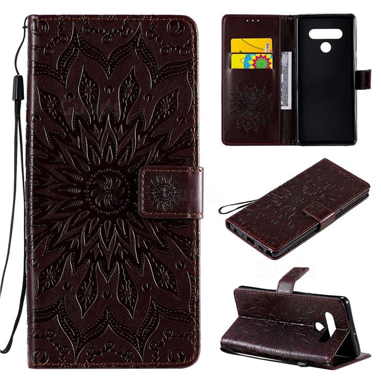 Embossing Sunflower Leather Wallet Case for LG Stylo 6 - Brown