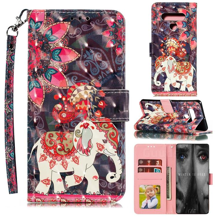 Phoenix Elephant 3D Painted Leather Phone Wallet Case for LG Stylo 6