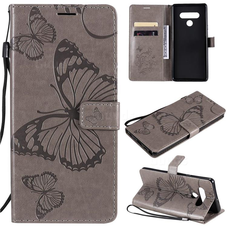 Embossing 3D Butterfly Leather Wallet Case for LG Stylo 6 - Gray