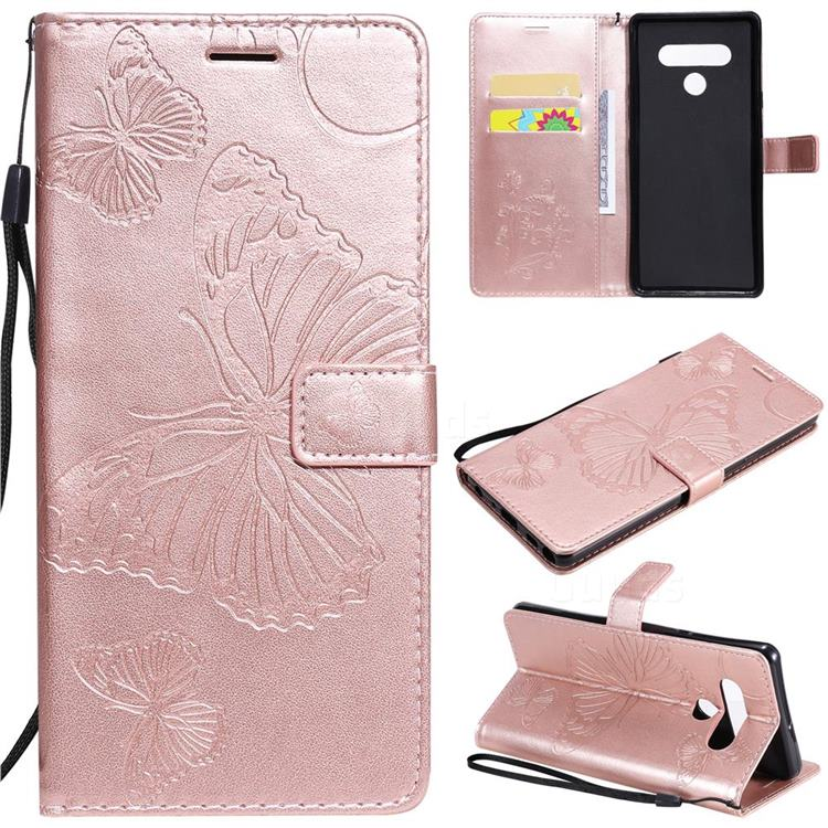 Embossing 3D Butterfly Leather Wallet Case for LG Stylo 6 - Rose Gold