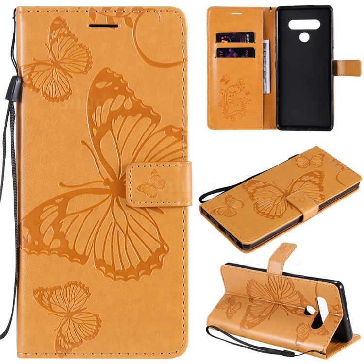 Embossing 3D Butterfly Leather Wallet Case for LG Stylo 6 - Yellow