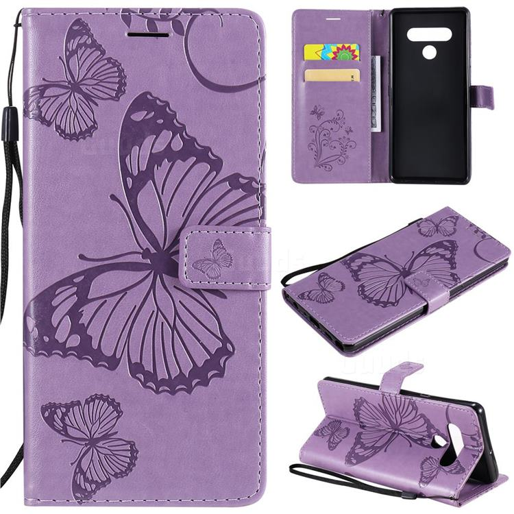 Embossing 3D Butterfly Leather Wallet Case for LG Stylo 6 - Purple
