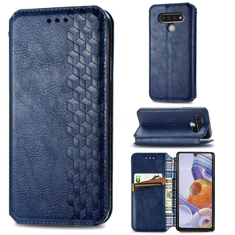 Ultra Slim Fashion Business Card Magnetic Automatic Suction Leather Flip Cover for LG Stylo 6 - Dark Blue