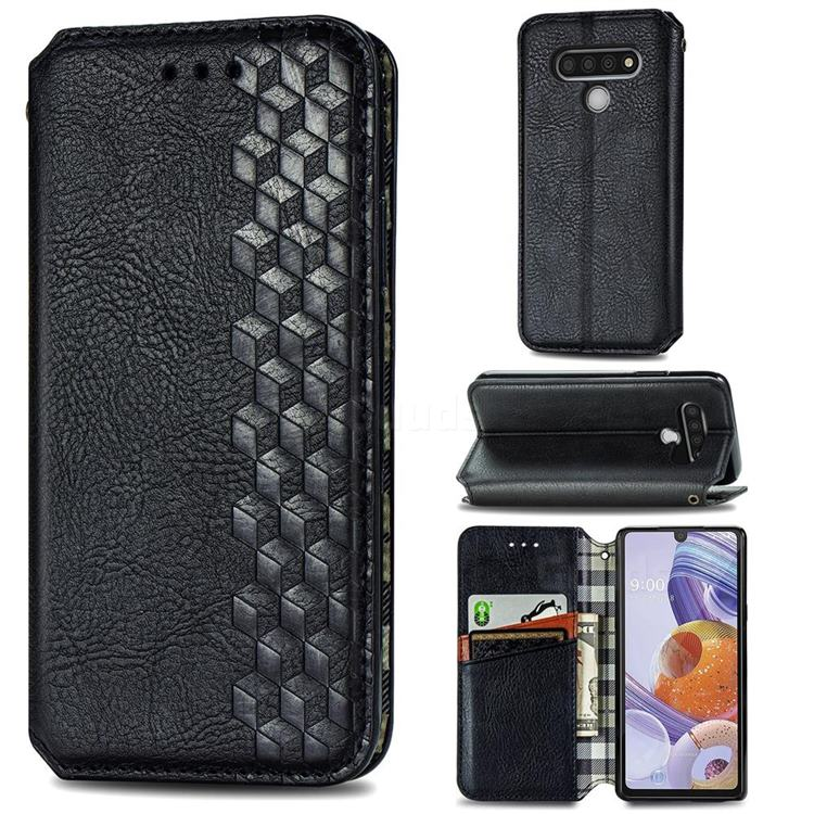 Ultra Slim Fashion Business Card Magnetic Automatic Suction Leather Flip Cover for LG Stylo 6 - Black