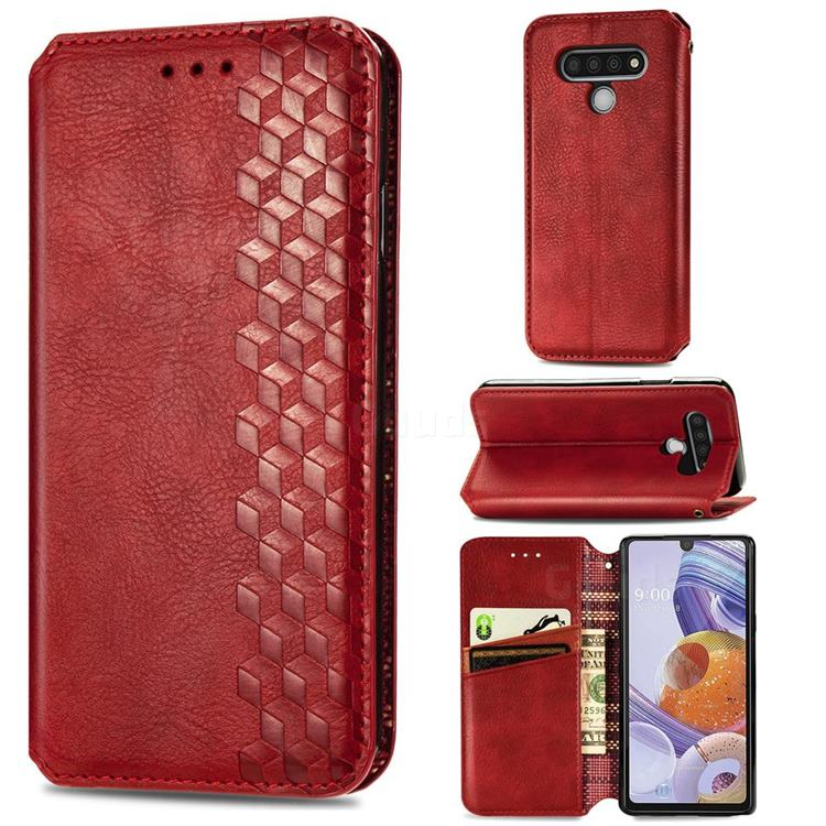 Ultra Slim Fashion Business Card Magnetic Automatic Suction Leather Flip Cover for LG Stylo 6 - Red