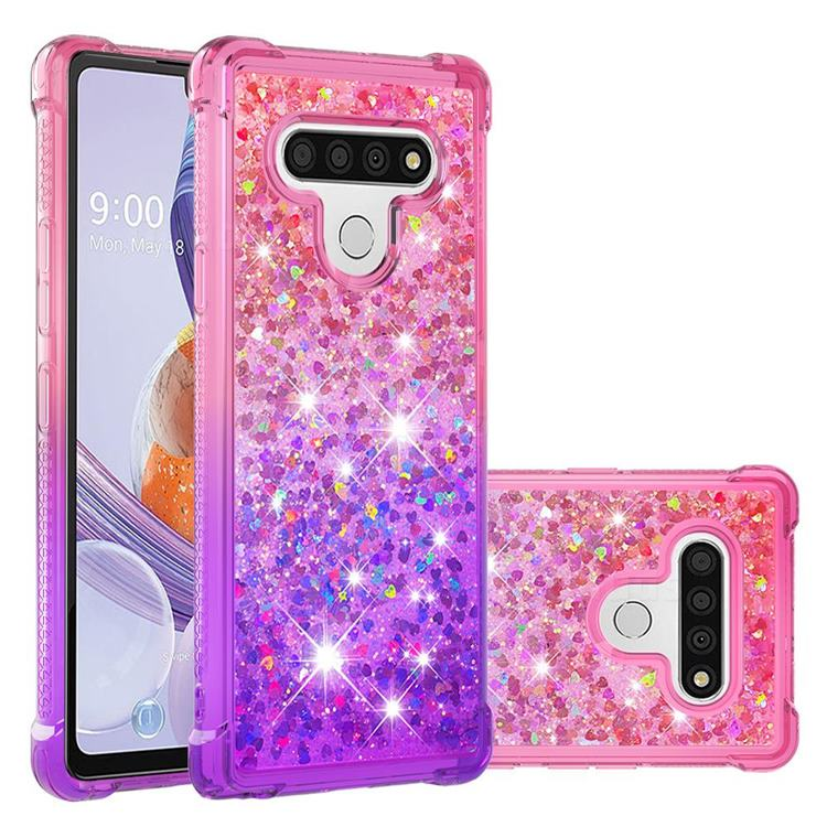 Rainbow Gradient Liquid Glitter Quicksand Sequins Phone Case for LG Stylo 6 - Pink Purple