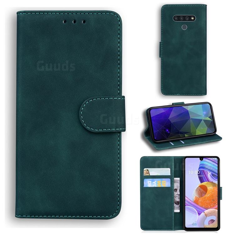 Retro Classic Skin Feel Leather Wallet Phone Case for LG Stylo 6 - Green