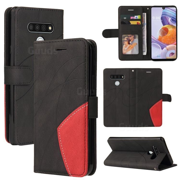 Luxury Two-color Stitching Leather Wallet Case Cover for LG Stylo 6 - Black