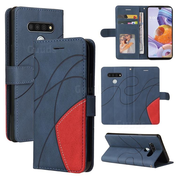 Luxury Two-color Stitching Leather Wallet Case Cover for LG Stylo 6 - Blue
