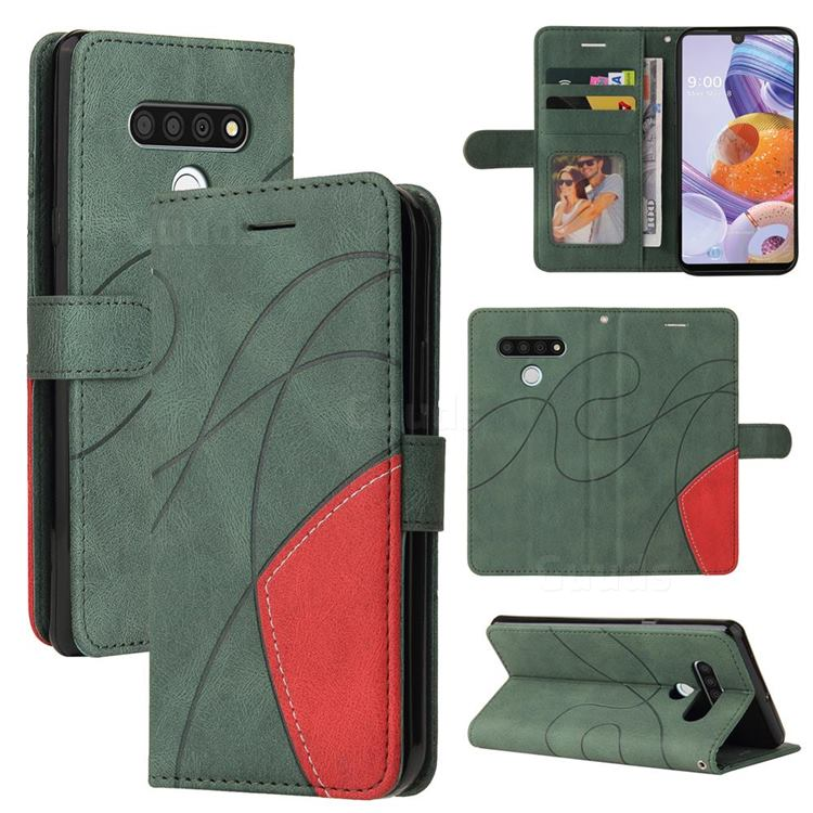 Luxury Two-color Stitching Leather Wallet Case Cover for LG Stylo 6 - Green