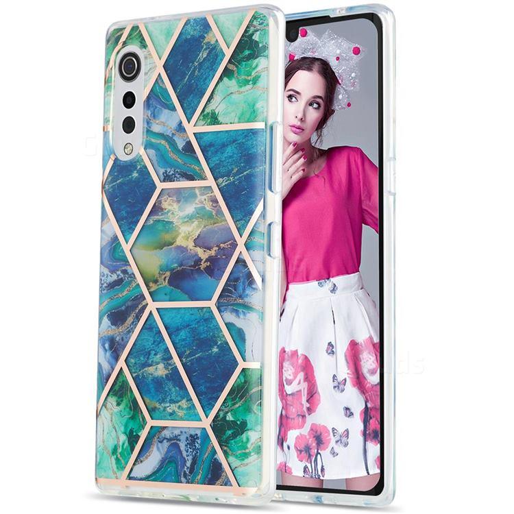 Blue Green Marble Pattern Galvanized Electroplating Protective Case Cover for LG Velvet 5G (LG G9 G900)