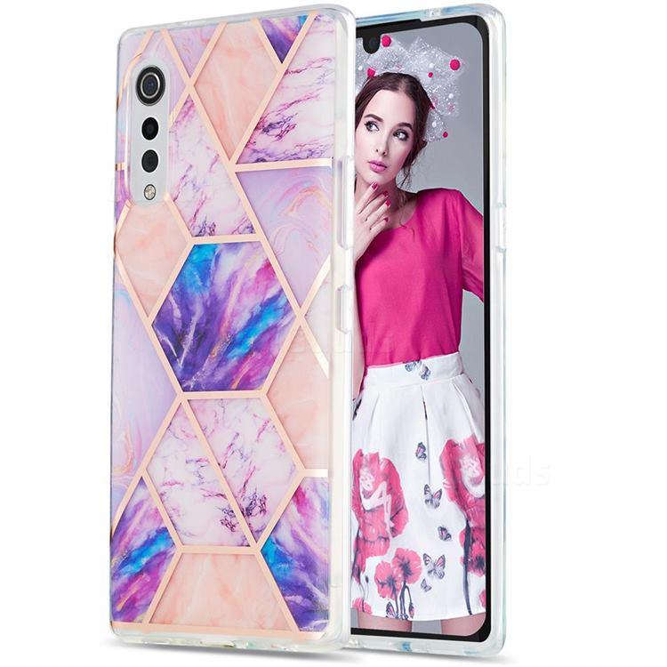 Purple Dream Marble Pattern Galvanized Electroplating Protective Case Cover for LG Velvet 5G (LG G9 G900)