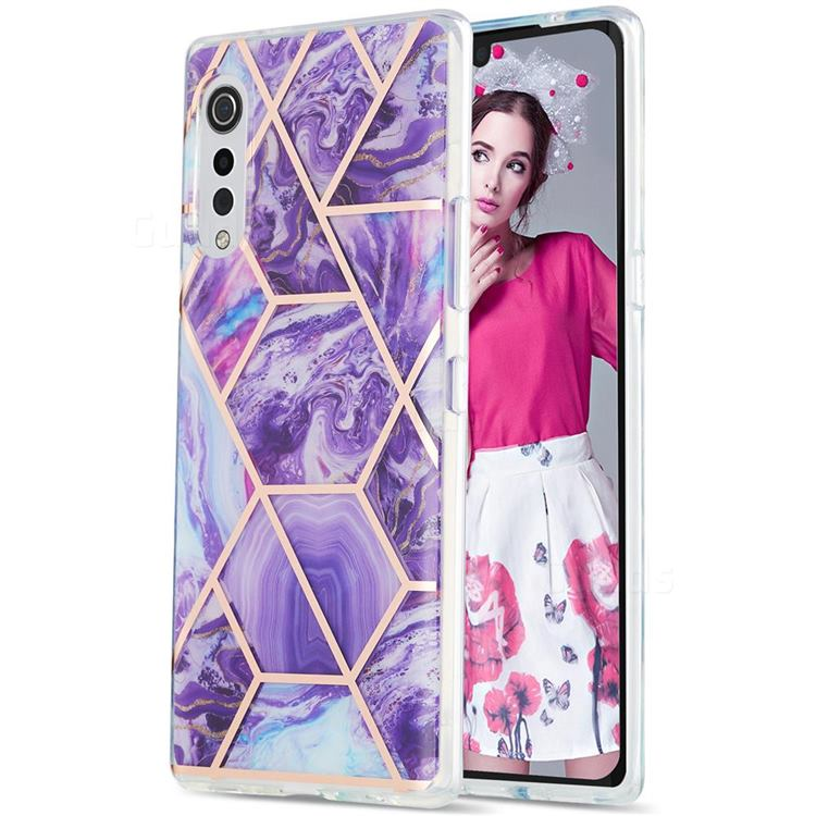 Purple Gagic Marble Pattern Galvanized Electroplating Protective Case Cover for LG Velvet 5G (LG G9 G900)