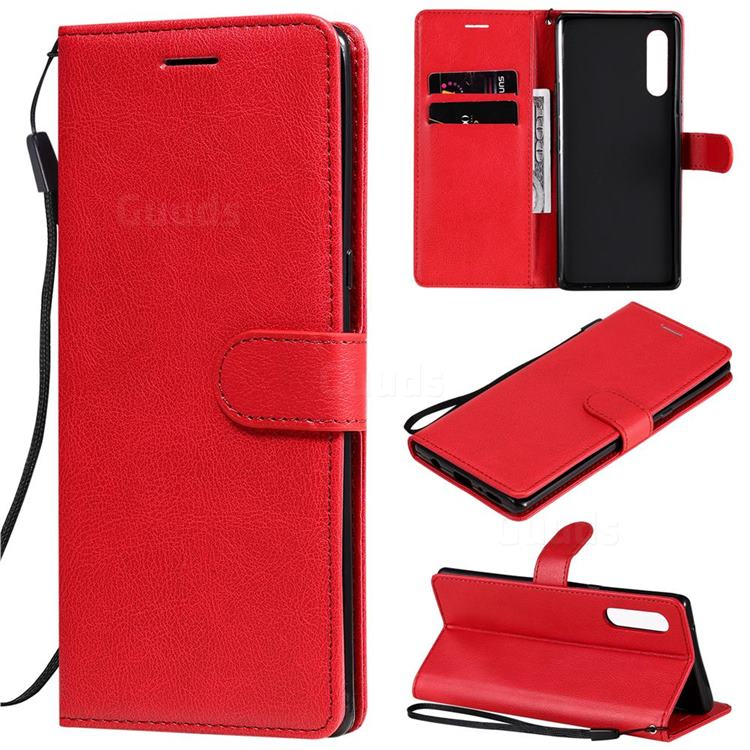 Retro Greek Classic Smooth PU Leather Wallet Phone Case for LG Velvet 5G (LG G9 G900) - Red