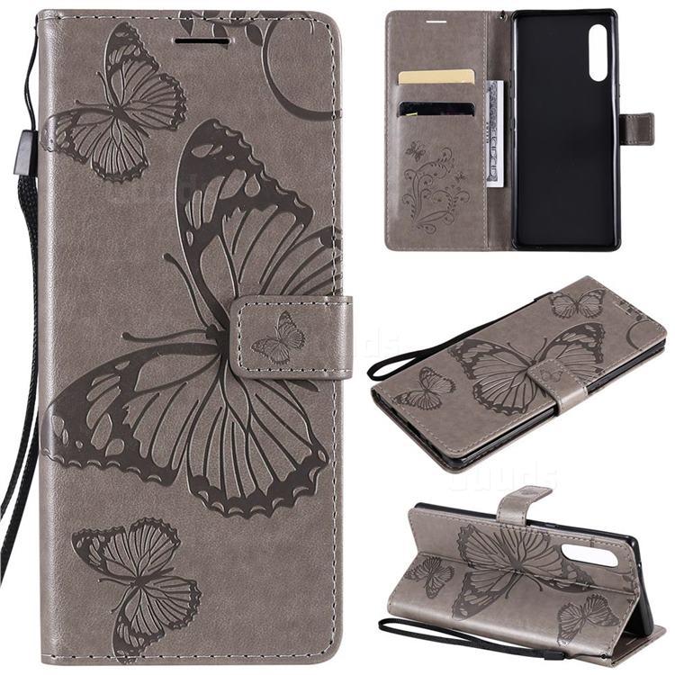Embossing 3D Butterfly Leather Wallet Case for LG Velvet 5G (LG G9 G900) - Gray